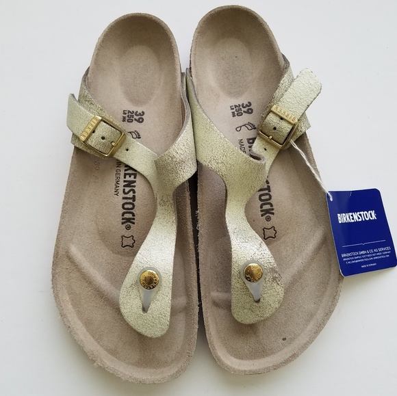 Birkenstock Gizeh Washed Metallic Cream Gold 39 NWT